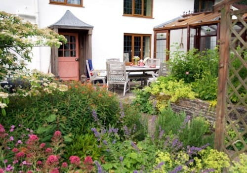 Patio of the Farm House in Devon available for self catering holidays