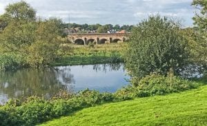 View from Riverview across towards Julians Bridge in Wimborne