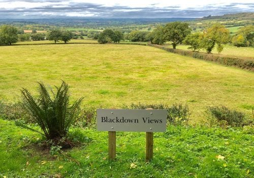 A welcome sign to Blackdown Views a Devon Holiday let
