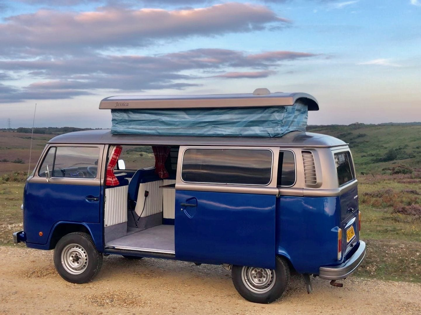 Campervan open fully with roof extended