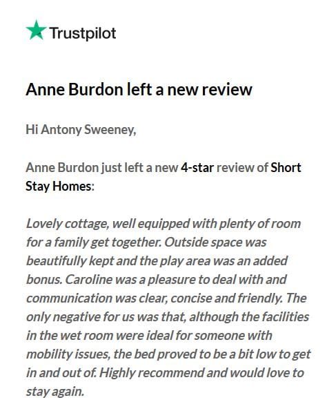Trust pilot review for New Forest cottage
