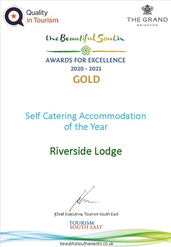 Certificate for Riverside Lodge Beautiful South Award 2021