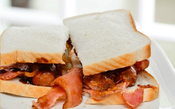 Local New Forest breakfast bacon and sausage sandwich
