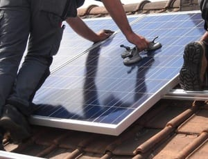 Solar panel fitting green energy