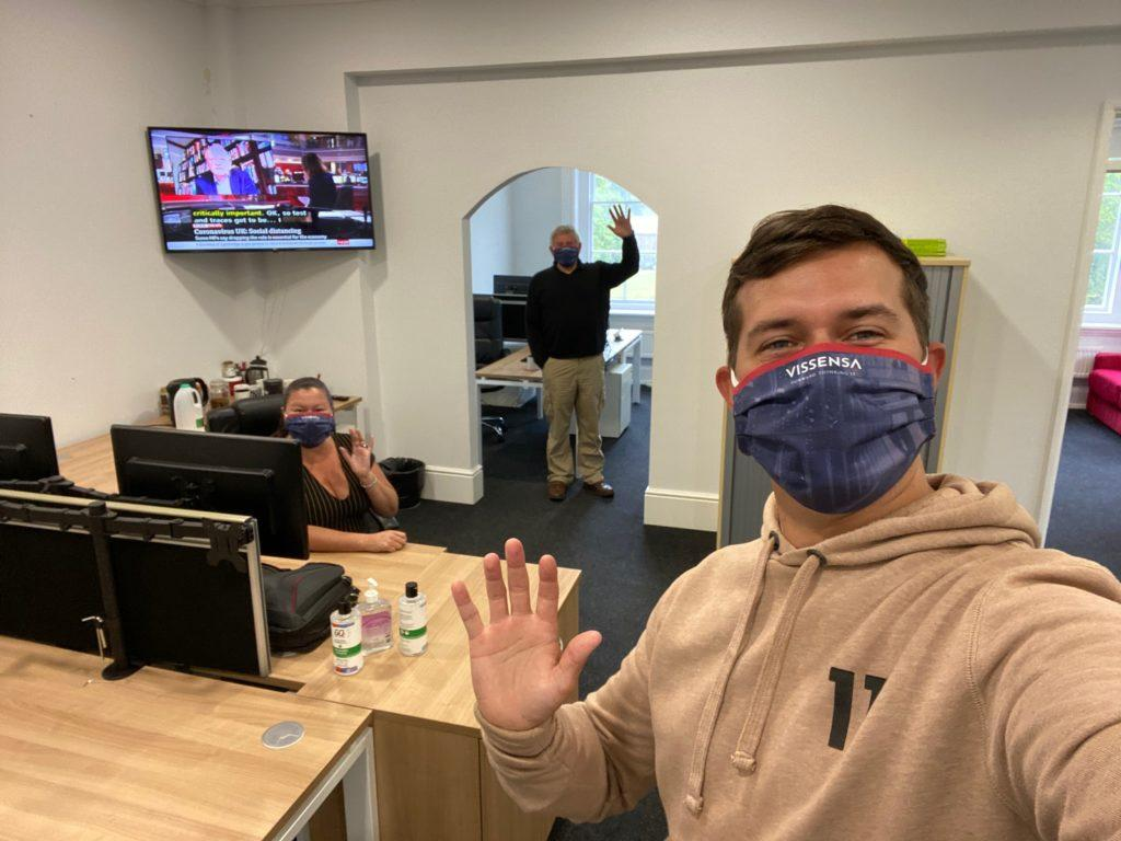 Vissensa Team with PPE in the office
