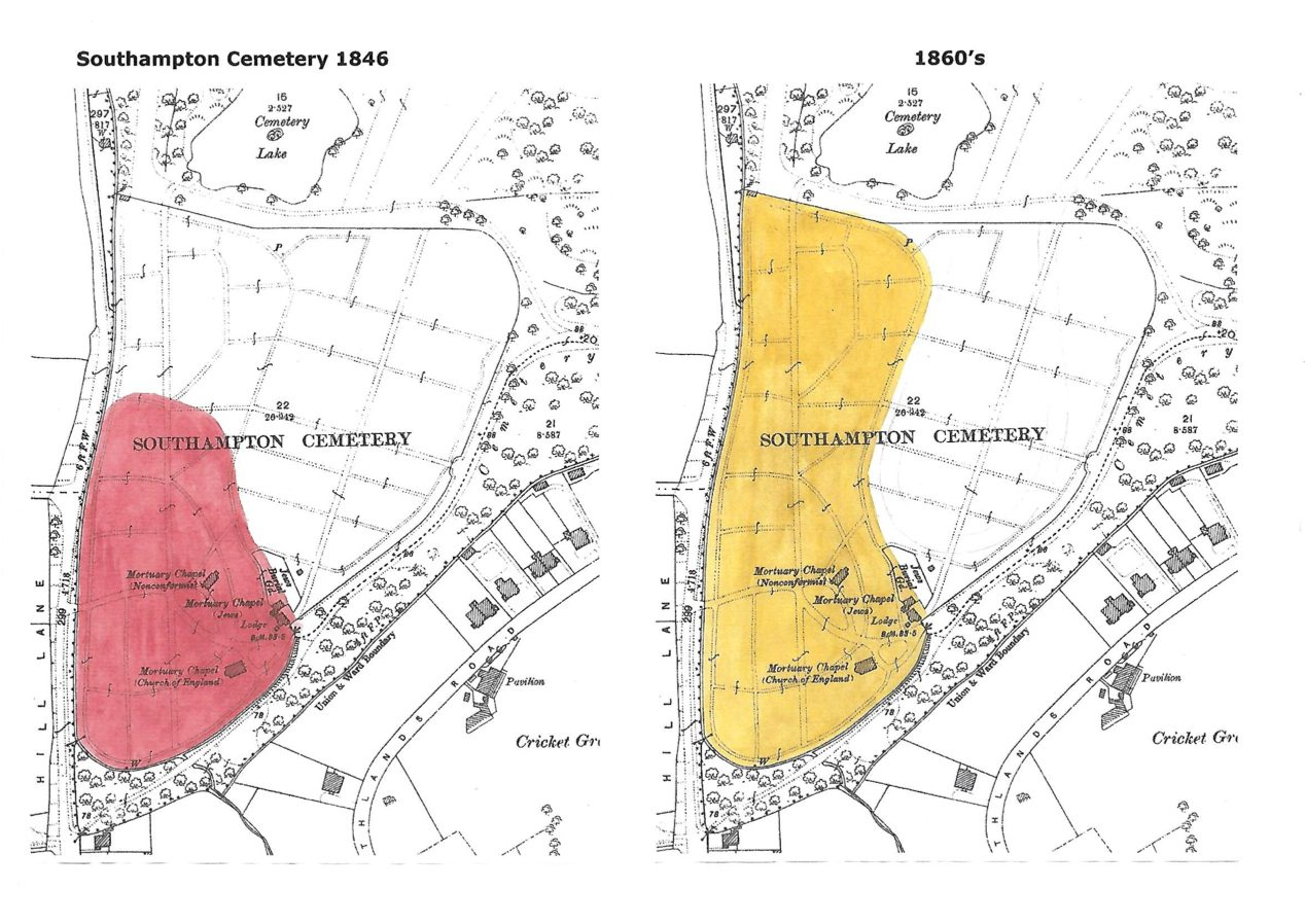 The original plans for the division of land for Southampton Cemetery.