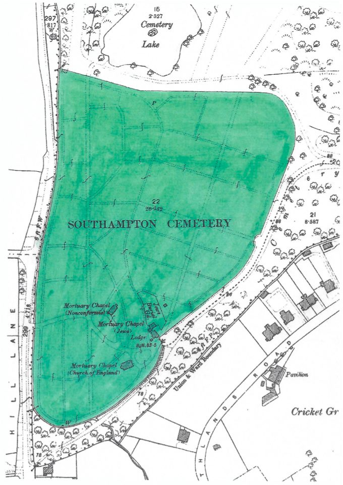 An updated plan showing the use of 27 acres for the Southampton Cemetery.