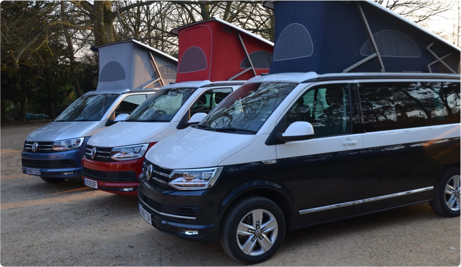 A photo with 3 different VW campervans which are available for hire from Southampton campers.