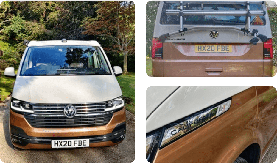 3 images of a brown and white VW campervan available for hire from Southampton campers.