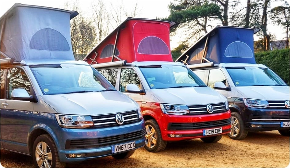 A photo showcasing some of the campervans on offer at Southampton campers.