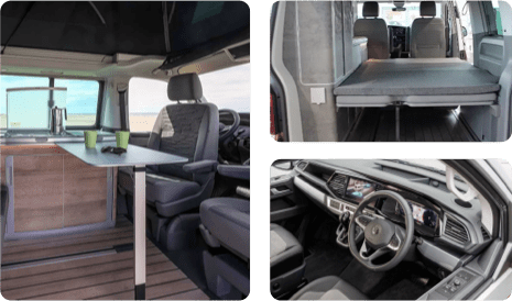 A montage of 3 separate images inside of a VW campervan.