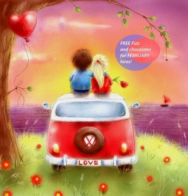 A graphic of a valentines card with a VW campervan on it.