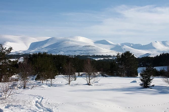 A landscape photograph of Aviemore in the Scottish highlands.