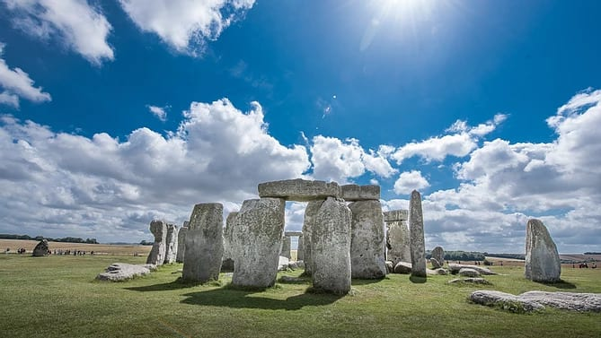 A photograph of Stonehenge, Wiltshire.