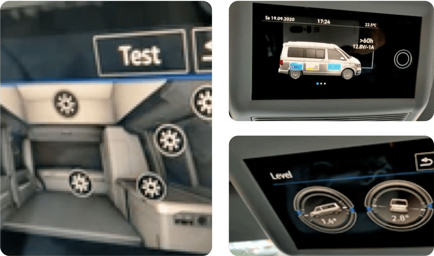 Images showcasing some of the features of the campervan control unit.