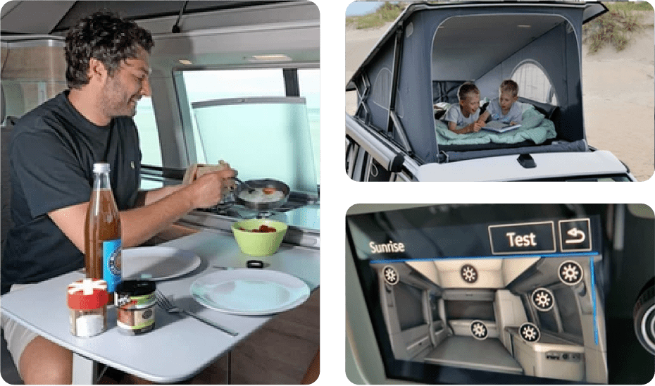A collection of photos of people enjoying their time inside of a VW campervan.