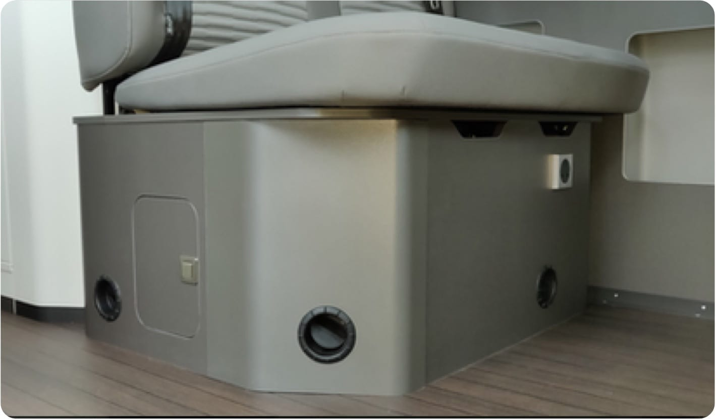 Photo of the heating system that is installed inside VW Grand California campervans.