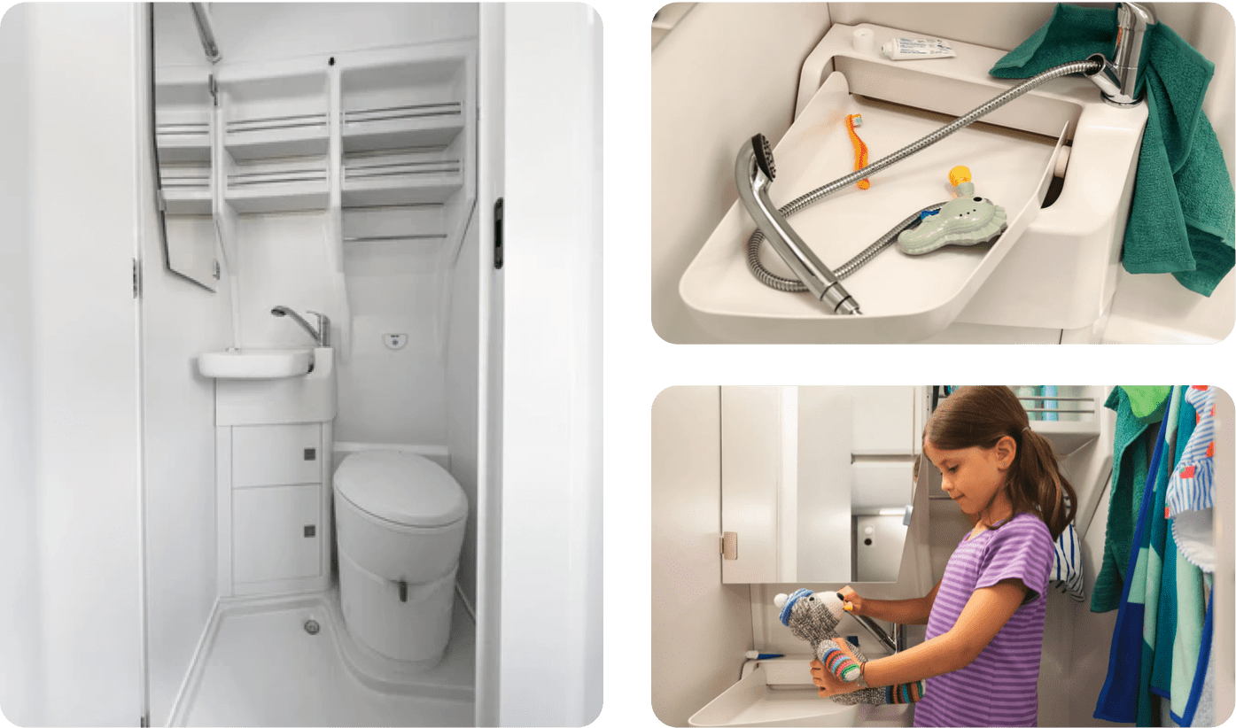 3 images showcasing the shower and clean space inside of a VW Grand California.