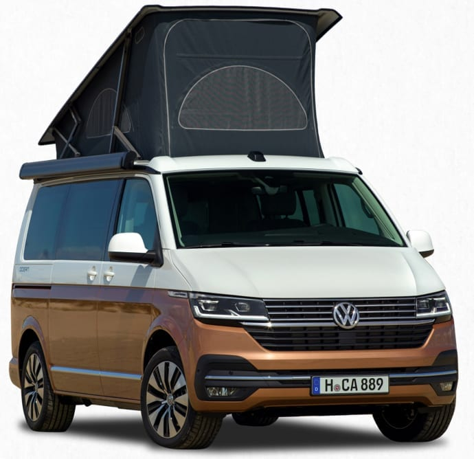 A studio image of a two tone VW campervan for hire.
