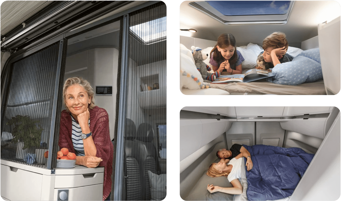 3 images showcasing the bed space inside of a VW Grand California.