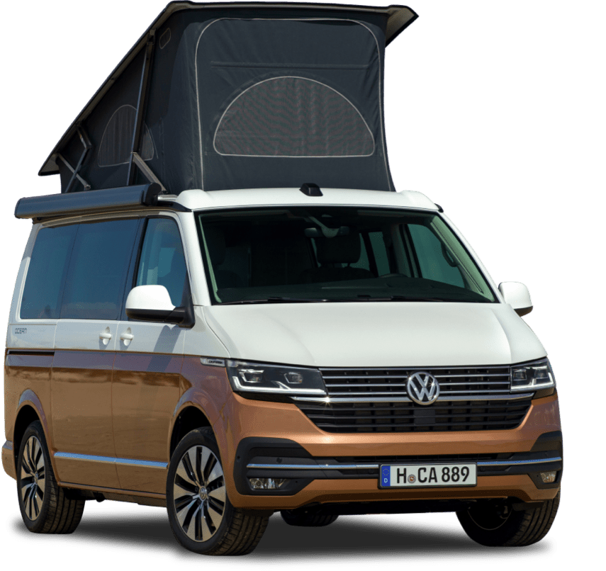 A studio image of a brown and white VW campervan.