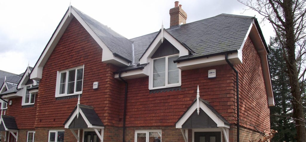 Handmade Red Verticle Angles fitted by Tilemongers who are Tile Specialist in Hampshire.