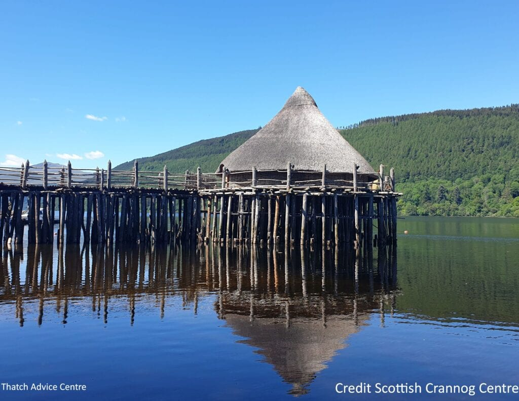 Before the Scottage thatched crannog fire