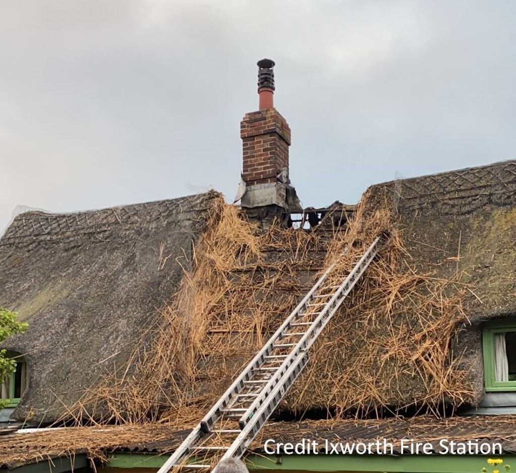 Thatch, Fire Safety and Chimney Issues Webinar - Izworth thatch fire July 2021